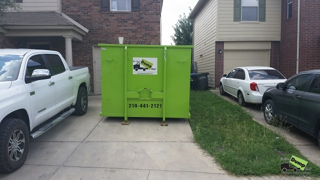 20 yard bin with room to park 2 cars